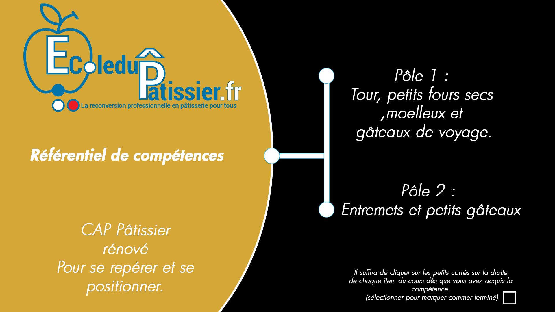 Référentiel du cap pâtissier Pôle 1 et Pôle 2